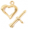 Toggle Fancy Heart 18mm Gold